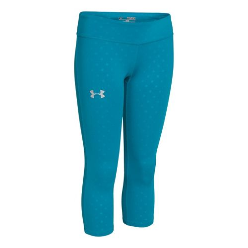 Kids Under Armour HeatGear Sonic Printed Capri Tights - Teal Ice/Silver S