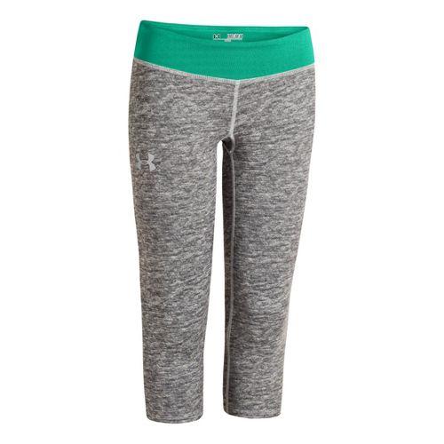 Kids Under Armour HeatGear Sonic Printed Capri Tights - True Grey Heather/Emerald Lake XL