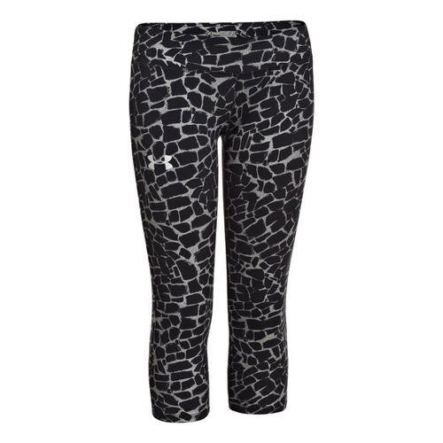 Kids Under Armour HeatGear Sonic Printed Capri Tights - Black/White YXL