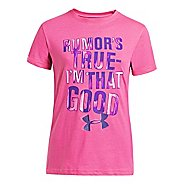 Kids Under Armour Girls Rumor's True Graphic T Short Sleeve Technical Tops