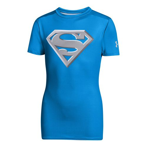 Kids Under Armour Boys Fitted Baselayer Short Sleeve Technical Tops - Electric Blue/Metallic ...