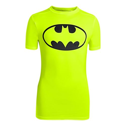 Kids Under Armour Boys Fitted Baselayer Short Sleeve Technical Tops - Hi-Viz Yellow/Black XL