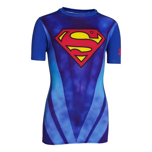 Kids Under Armour Boys Fitted Baselayer Short Sleeve Technical Tops - Royal Blue/Red S