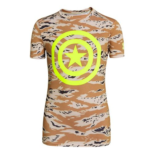 Kids Under Armour Boys Fitted Baselayer Short Sleeve Technical Tops - Saddle/Hi-Viz Yellow XS