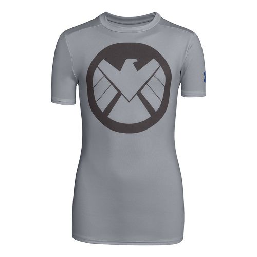 Kids Under Armour Boys Fitted Baselayer Short Sleeve Technical Tops - Steel/Graphite L