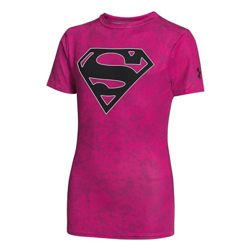 Kids Under Armour Boys Fitted Baselayer Short Sleeve Technical Tops - Tropic Pink/Black XS