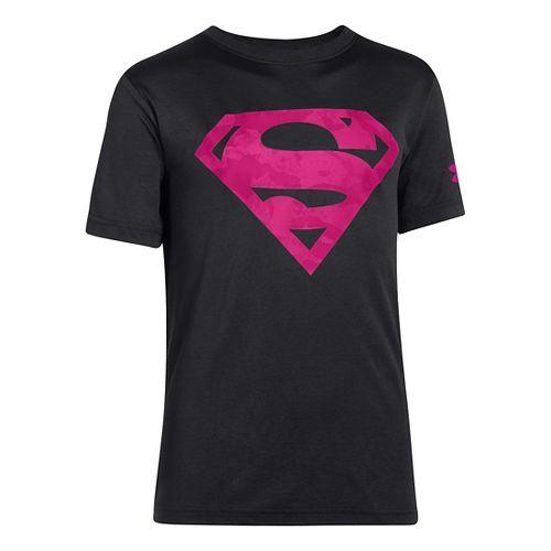 Kids Under Armour Boys Superman T Short Sleeve Technical Tops - Black/Tropic Pink XS