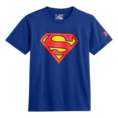 Kids Under Armour Boys Superman T Short Sleeve Technical Tops - Royal/Red XL