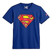Kids Under Armour Boys Superman T Short Sleeve Technical Tops