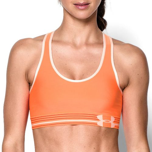 Womens Under Armour Mid Sports Bras - Cyber Orange/Peach M