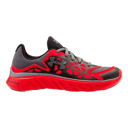 Kids Under Armour Boys PS Spine Surge Running Shoe - Black/Red 12.5