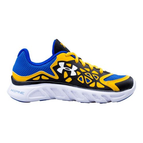 Kids Under Armour Boys PS Spine Surge Running Shoe - Black/Taxi 13.5
