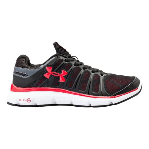 Kids Under Armour Boys GS Micro G Pulse II Running Shoe - Black/Red 6.5