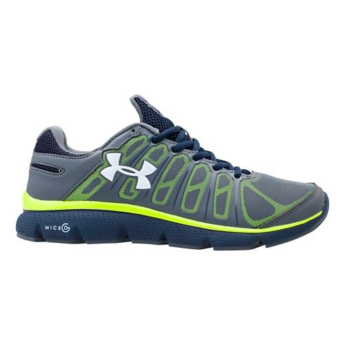 Kids Under Armour Boys GS Micro G Pulse II Running Shoe - Gravel 4.5