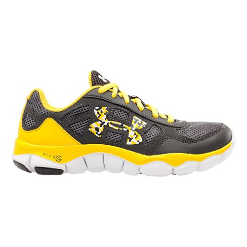 Kids Under Armour Boys GS Micro G Engage BL Running Shoe - Charcoal/Taxi 4.5