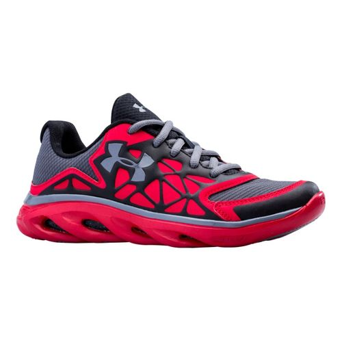 Kids Under Armour Boys GS Spine Surge Running Shoe - Black/Red 6.5