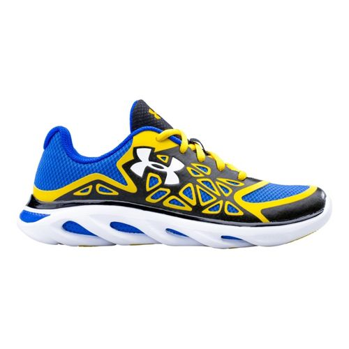 Kids Under Armour Boys GS Spine Surge Running Shoe - Black/Taxi 3.5