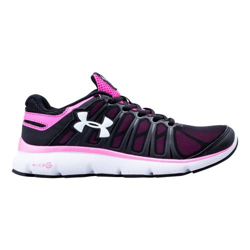 Kids Under Armour Girls GS Micro G Pulse II Running Shoe - Black 6.5