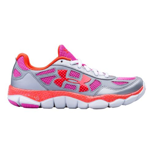 Kids Under Armour Girls GS Micro G Engage BL Running Shoe - Metallic Silver 3.5 ...