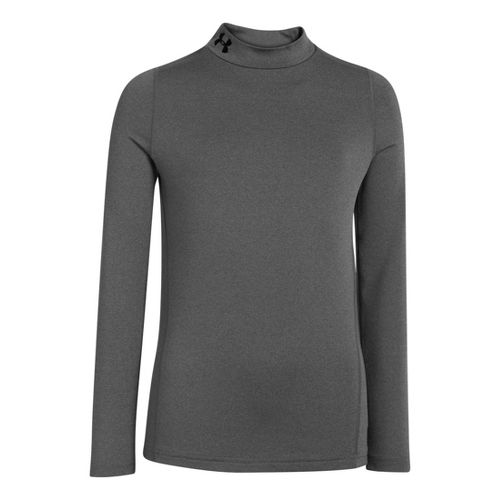 Kids Under Armour Boys Coldgear EVO Fitted Mock Long Sleeve No Zip Technical Tops - ...