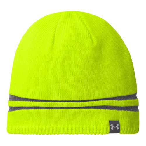 Mens Under Armour Reflective Beanie Headwear - High Vis Yellow