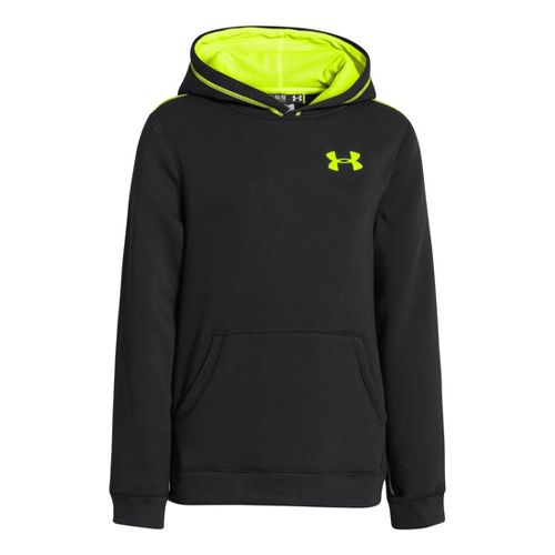 Kids Under Armour Boys Rival Cotton Hoody Warm-Up Hooded Jackets - Black/High Vis Yellow S ...