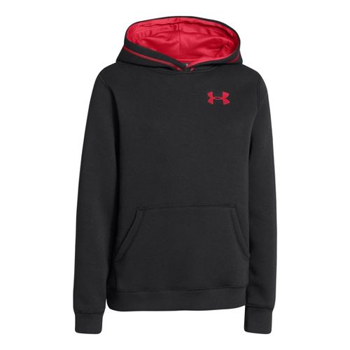 Kids Under Armour Boys Rival Cotton Hoody Warm-Up Hooded Jackets - Black/Red M