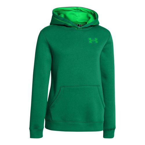 Kids Under Armour Boys Rival Cotton Hoody Warm-Up Hooded Jackets - Blade/Green Energy XS