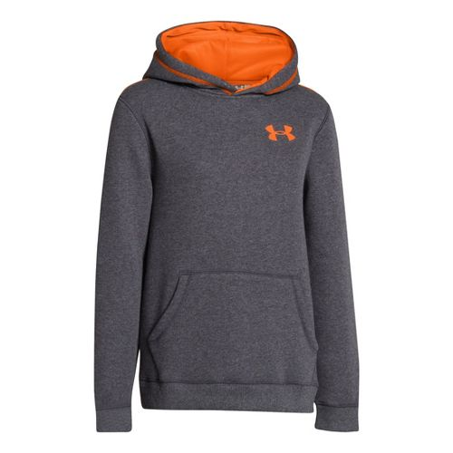 Kids Under Armour Boys Rival Cotton Hoody Warm-Up Hooded Jackets - Carbon Heather/Blaze Orange ...