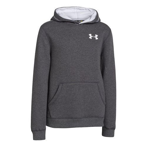 Kids Under Armour Boys Rival Cotton Hoody Warm-Up Hooded Jackets - Carbon Heather/White XS