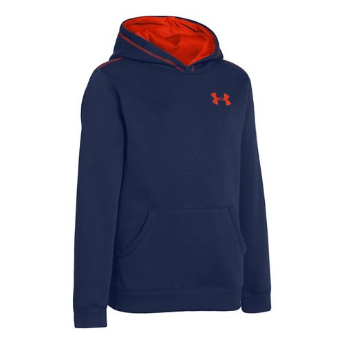 Kids Under Armour Boys Rival Cotton Hoody Warm-Up Hooded Jackets - Deep Space Blue/Volcano M ...
