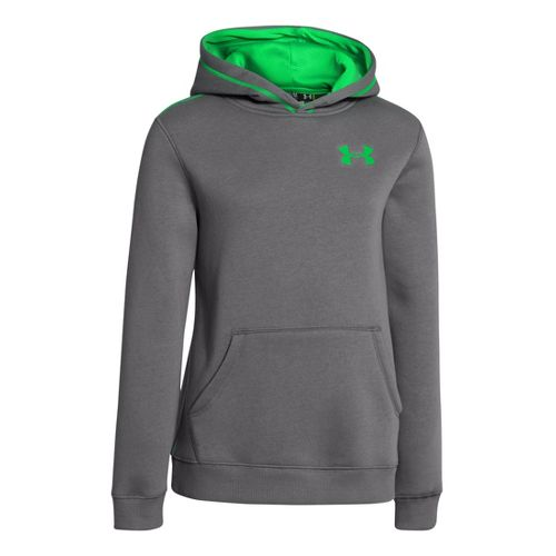 Kids Under Armour Boys Rival Cotton Hoody Warm-Up Hooded Jackets - Graphite/Green Energy L