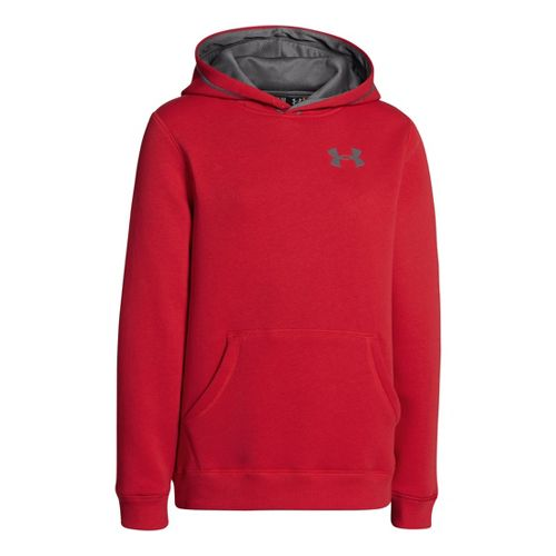 Kids Under Armour Boys Rival Cotton Hoody Warm-Up Hooded Jackets - Red/Graphite XL