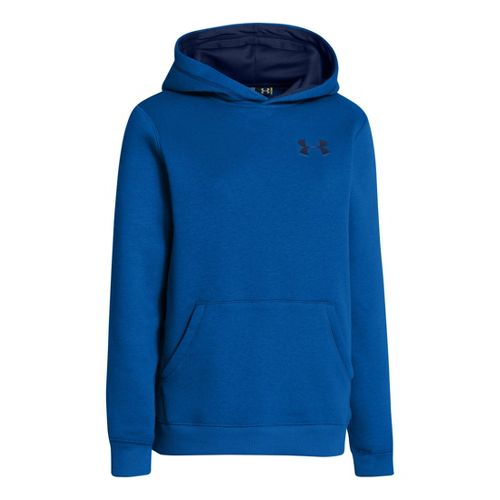 Kids Under Armour Boys Rival Cotton Hoody Warm-Up Hooded Jackets - Scatter/Deep Space Blue S ...