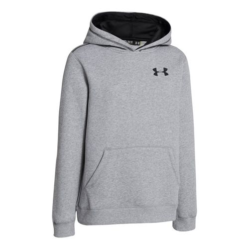 Kids Under Armour Boys Rival Cotton Hoody Warm-Up Hooded Jackets - True Grey Heather/Black S ...