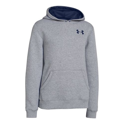 Kids Under Armour Boys Rival Cotton Hoody Warm-Up Hooded Jackets - True Grey Heather/Deep Space ...