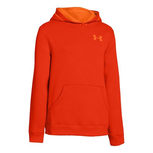 Kids Under Armour Boys Rival Cotton Hoody Warm-Up Hooded Jackets - Volcano/Blaze Orange L
