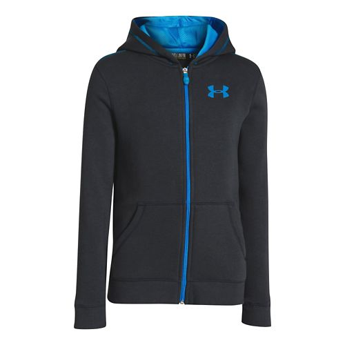 Kids Under Armour Boys Rival Cotton FZ Hoody Warm-Up Hooded Jackets - Anthracite/Electric Blue ...