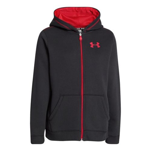 Kids Under Armour Boys Rival Cotton FZ Hoody Warm-Up Hooded Jackets - Black/Red L