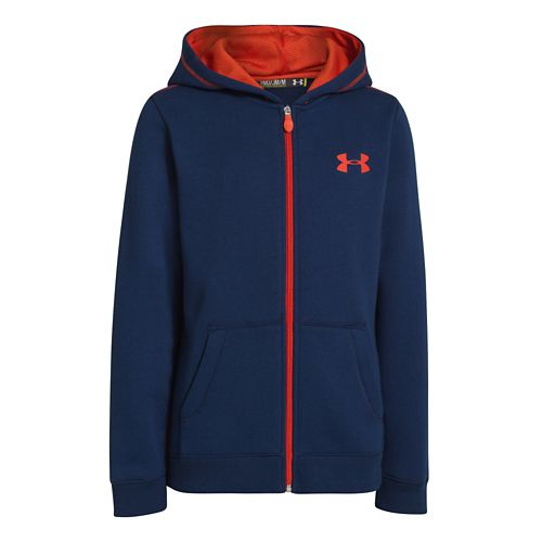 Kids Under Armour Boys Rival Cotton FZ Hoody Warm-Up Hooded Jackets - Deep Space Blue/Volcano ...