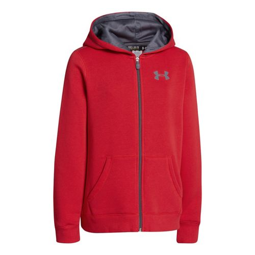 Kids Under Armour Boys Rival Cotton FZ Hoody Warm-Up Hooded Jackets - Red/Graphite M
