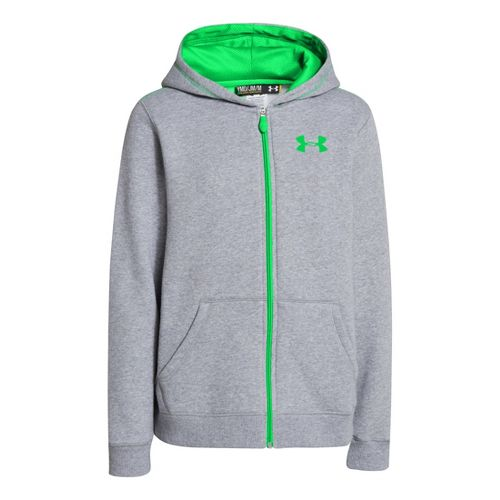 Kids Under Armour Boys Rival Cotton FZ Hoody Warm-Up Hooded Jackets - True Grey Heather/Green ...