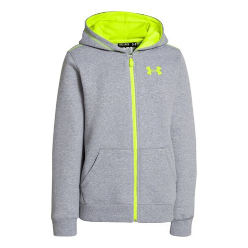 Kids Under Armour Boys Rival Cotton FZ Hoody Warm-Up Hooded Jackets - True Grey Heather/High ...