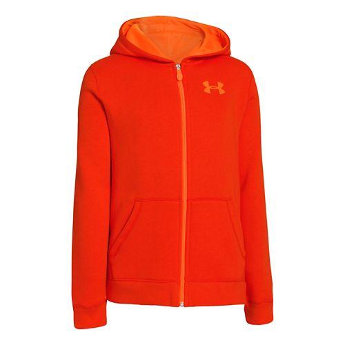 Kids Under Armour Boys Rival Cotton FZ Hoody Warm-Up Hooded Jackets - Volcano/Blaze Orange S ...