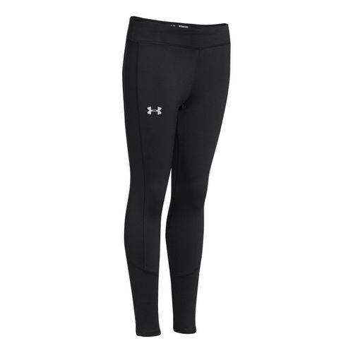 Kids Under Armour Girls Storm Coldgear Infared Fitted Tights - Black/Silver XS