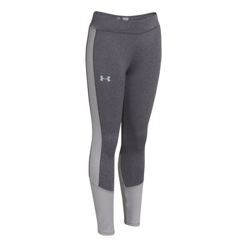 Kids Under Armour Girls Storm Coldgear Infared Fitted Tights - Carbon Heather/True Grey XL