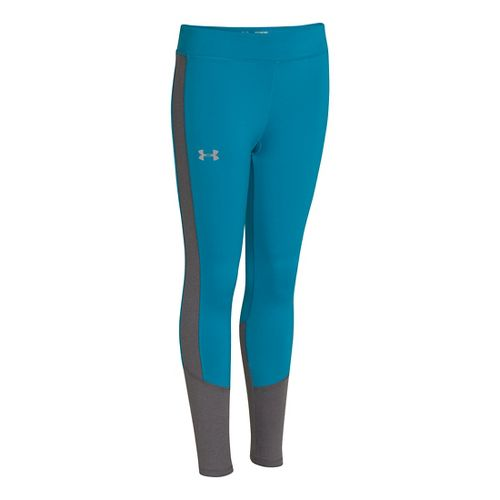 Kids Under Armour Girls Storm Coldgear Infared Fitted Tights - Teal Ice/Carbon Heather XS