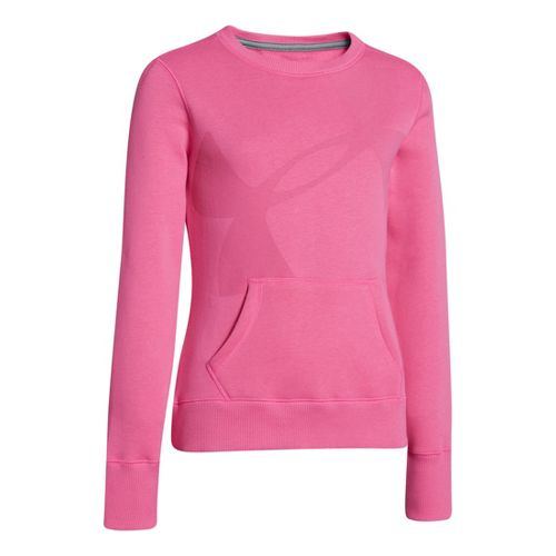 Kids Under Armour Girls Rival Cotton Crew Long Sleeve No Zip Technical Tops - Chaos/Aluminum ...