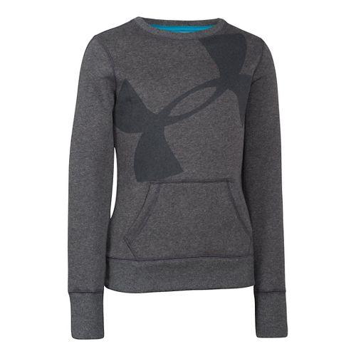 Kids Under Armour Girls Rival Cotton Crew Long Sleeve No Zip Technical Tops - Carbon ...