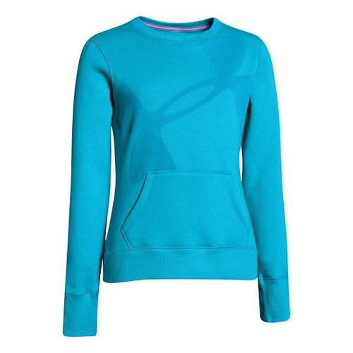 Kids Under Armour Girls Rival Cotton Crew Long Sleeve No Zip Technical Tops - Cortez ...